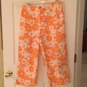 Orange & white flowered Capri pants